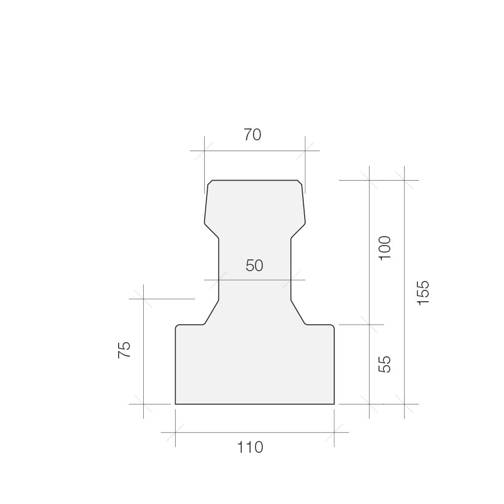 155 beam section detail, 155mm t beam, beam and block flooring, beam and block floor